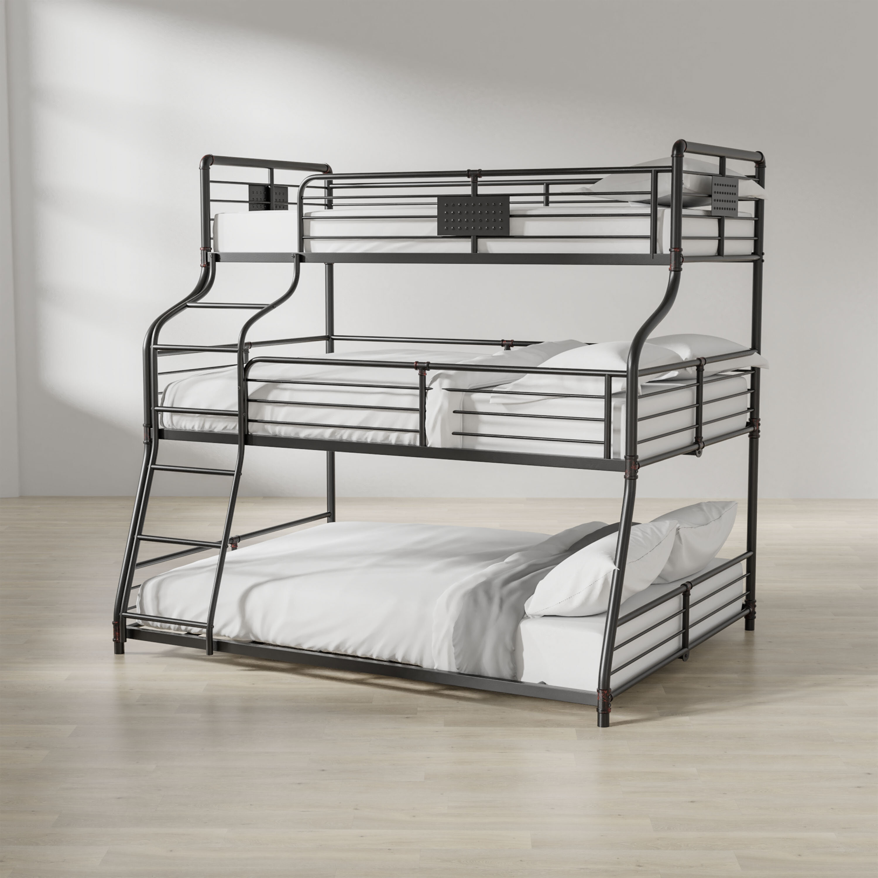 Harriet Bee Prather Twin Over Full Over Queen Bed Reviews Wayfair