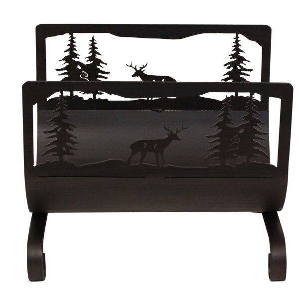 Deer Scene Wood Log Carrier by Coast Lamp Mfg.