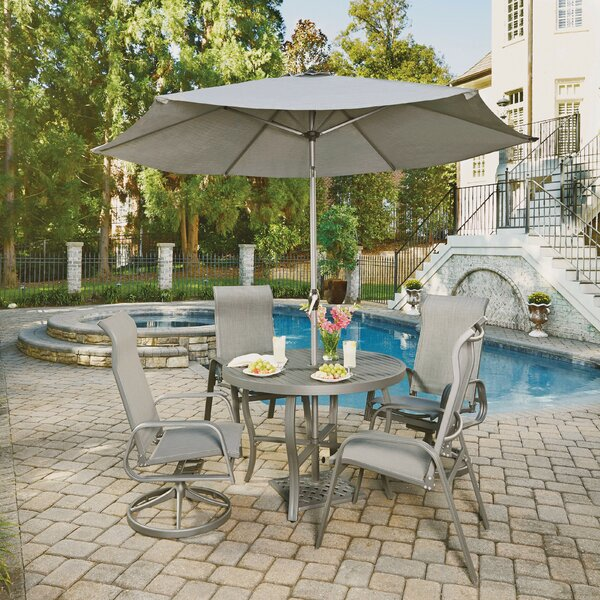 Dinapoli Outdoor 5 Piece Dining Set with Umbrella by Red Barrel Studio