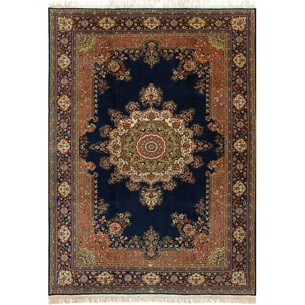 One-of-a-Kind Billa Hand-Knotted Wool Dark Navy Area Rug by Bloomsbury Market