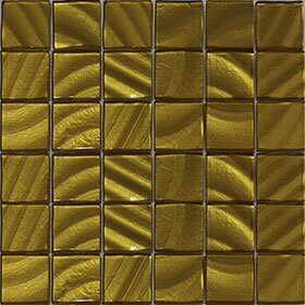Valverde 3D 2 x 2 Glass/Aluminum Mosaic Tile in Gold by Vetromani