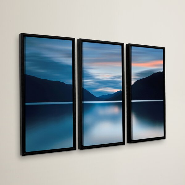 Lake Crescent Dusk 3 Piece Framed Photographic Print Set by Loon Peak