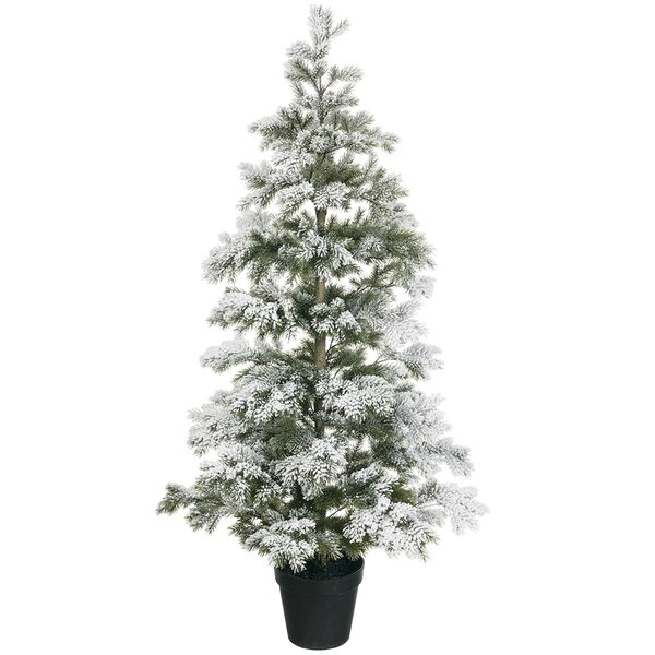 171f9e4b720 Flocked 4.8 White green Pine Artificial Christmas Tree With Stand By The  Holiday Aisle