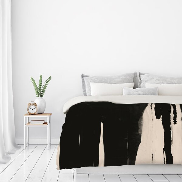Black And Taupe Abstract Duvet Cover