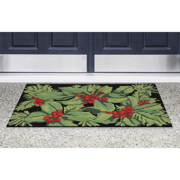 Hollyberries Hand-Tufted Black Indoor/Outdoor Area Rug by The Holiday Aisle