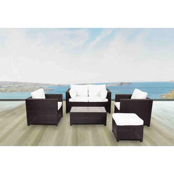 Lugano 5 Piece Rattan Sofa Seating Group with Cushions by Velago