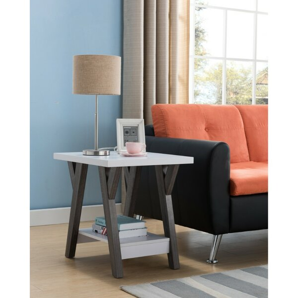 Holder Two-Tone Wooden End Table by Wrought Studio