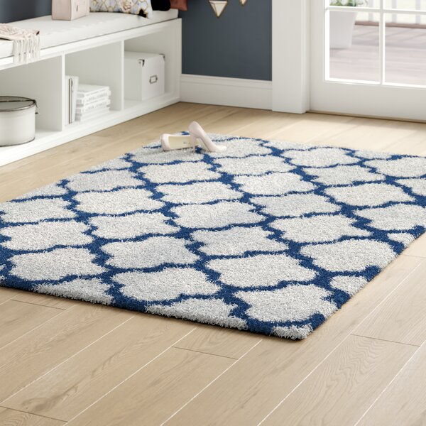 Burgess White/Blue Area Rug by Rosdorf Park