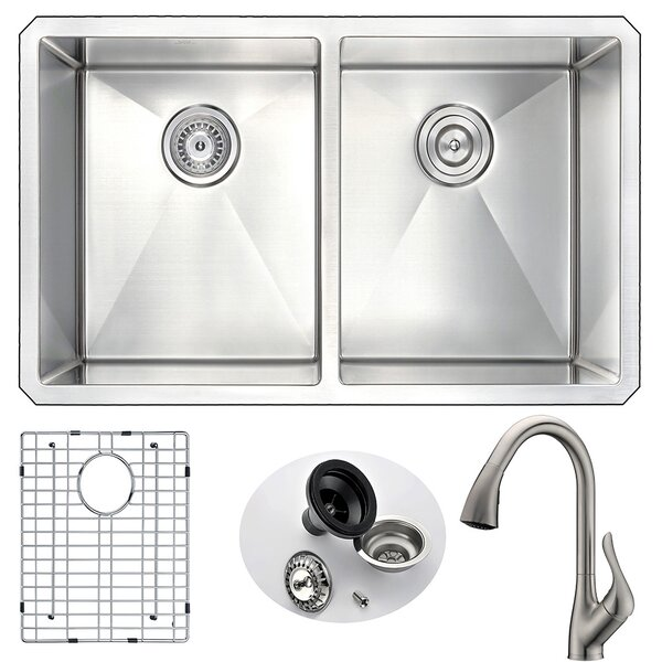 Vanguard 32 L x 18 W Double Bowl Undermount Kitchen Sink with Faucet
