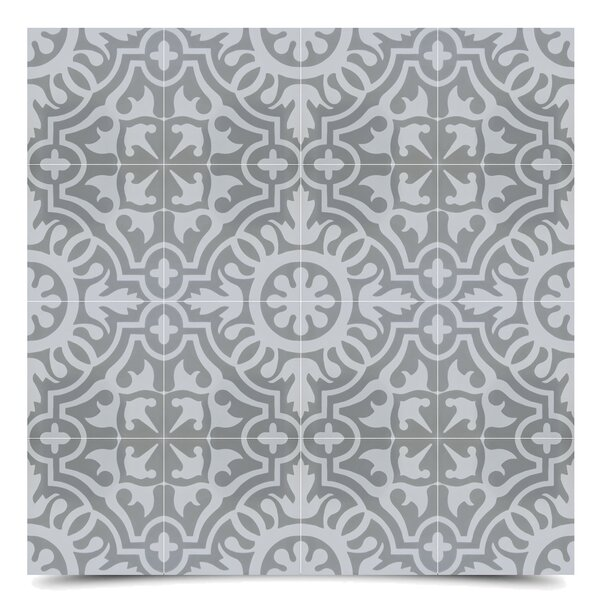Baha 8 x 8  Cement Field Tile in Gray/Off-White by Moroccan Mosaic