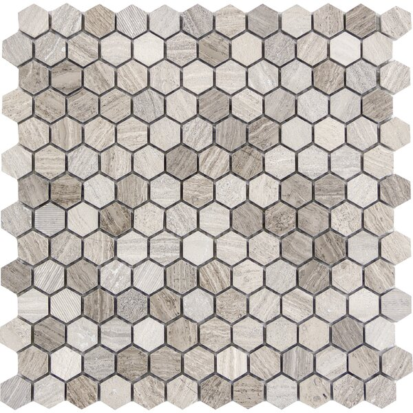 Metro Hex Mix 1 x 1 Marble Mosaic Tile in Gray by Emser Tile
