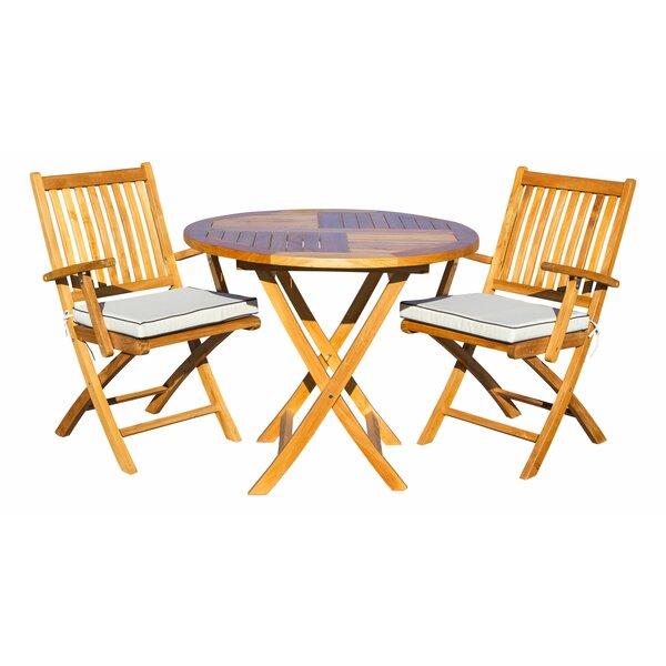 Everleigh 3 Piece Teak Sunbrella Bistro Set with Cushions by Bay Isle Home