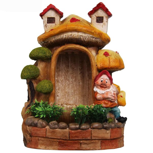Resin Cute Gnome and Bonsai Sculptural Fountain by Sintechno