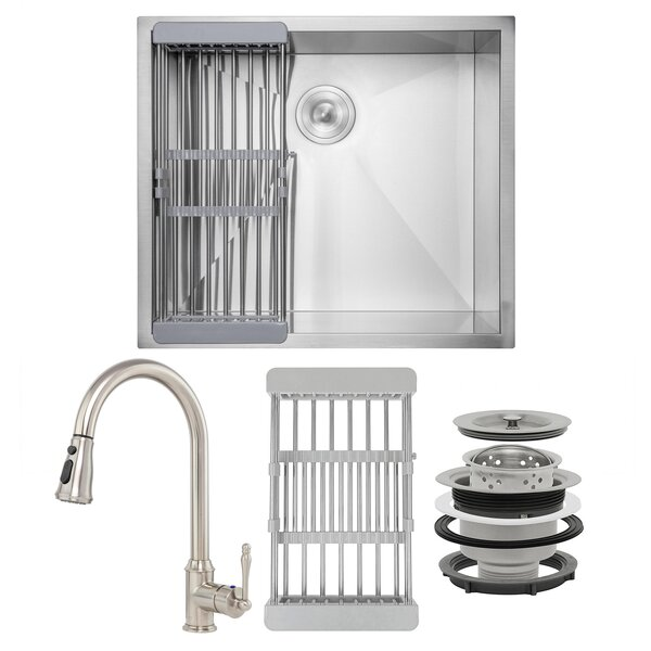 Pull-Down 25 L x 22 W Undermount Kitchen Sink with Faucet