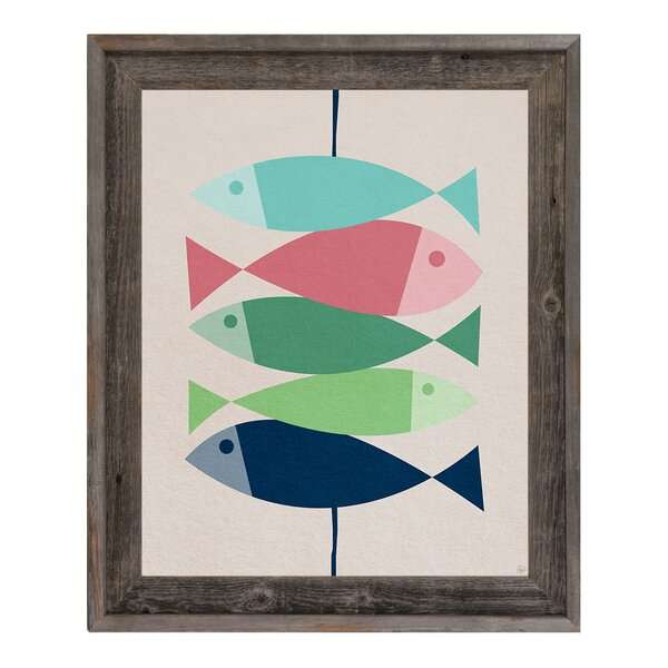 Fishkabob Green Framed Graphic Art on Canvas by Click Wall Art