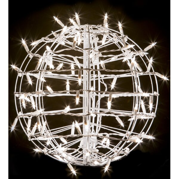 Fold Flat Sphere with 100 Incandescent Lights by Crab Pot Christmas Trees