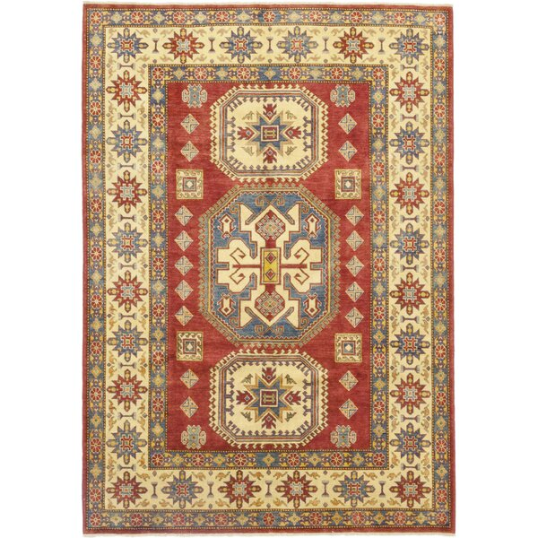 One-of-a-Kind Little Nell Hand-Knotted Wool Red/Beige Indoor Area Rug by Canora Grey