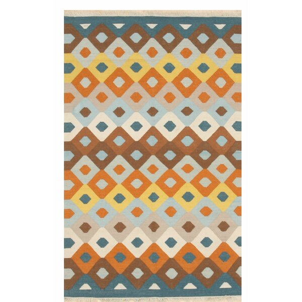 Gaines Transitional Hand-Woven Orange/Blue Indoor/Outdoor Area Rug by Ivy Bronx
