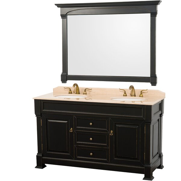 Andover 60 Double Antique Black Bathroom Vanity Set with Mirror by Wyndham Collection