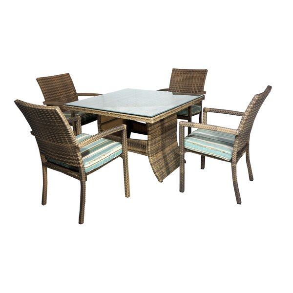 Hardage 5 Piece Dining Set with Cushions by Highland Dunes