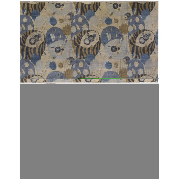 One-of-a-Kind Hand-Knotted Blue 12'2 x 15'2 Cotton Area Rug