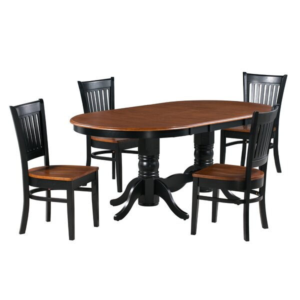 Jadyn 5 Piece Extendable Solid Wood Dining Set by Alcott Hill
