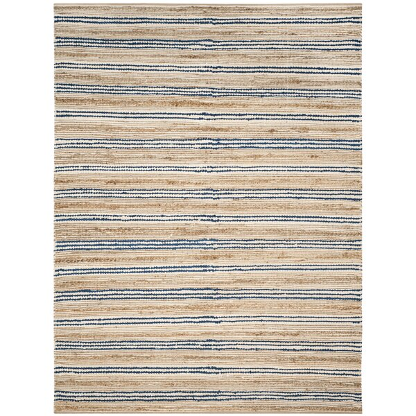 Arria Hand-Woven Natural/Blue Cotton Area Rug by Highland Dunes
