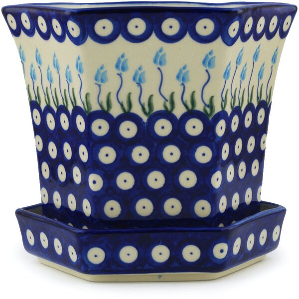 Floral Peacock Polish Pottery Pot Planter by Polmedia