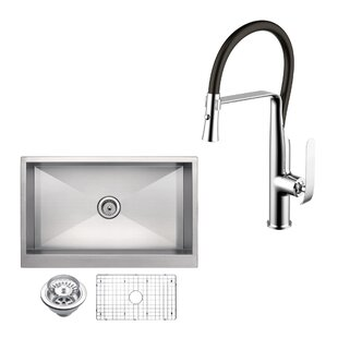All-in-One Front Stainless Steel 33 L x 21 W Apron Kitchen Sink with Faucet and Pull-out Sprayer By dCOR design