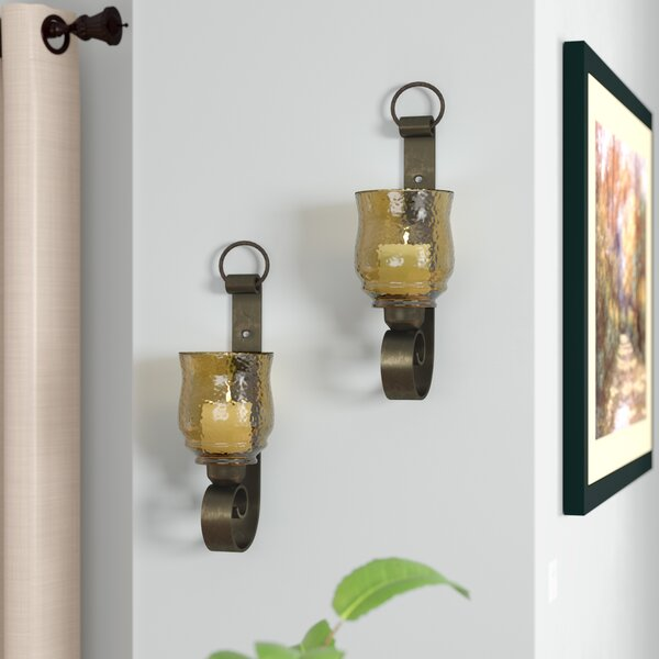 Reitman Iron and Glass Small Wall Sconces (Set of