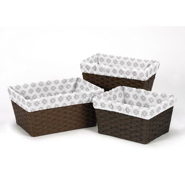 Feather Tribal Geometric Print 3 Piece Basket Liner Set by Sweet Jojo Designs