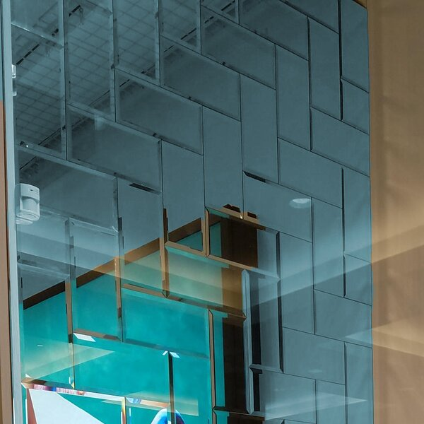 Echo Matte 4 x 12 Mirror Glass Subway Tile in Graphite by Abolos