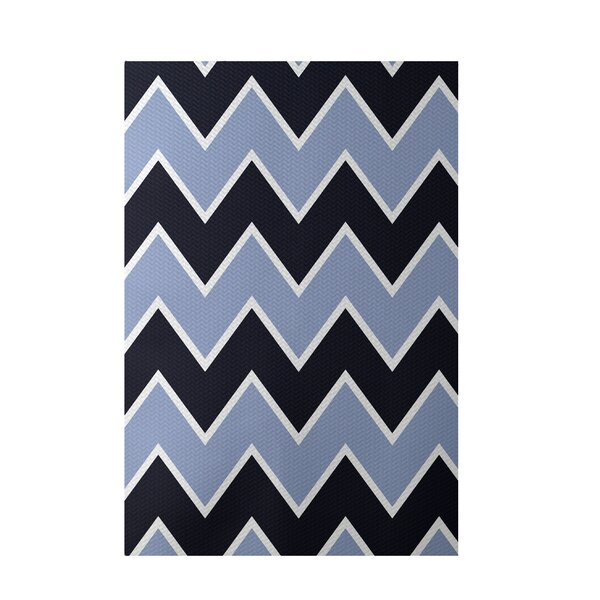 Chevron Blue Indoor/Outdoor Area Rug by e by design
