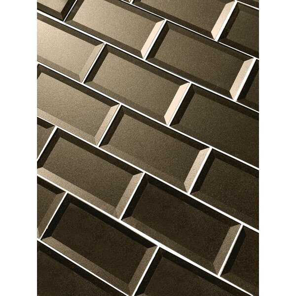 Secret Dimensions 3 x 6 Glass Subway Tile in Brown by Abolos