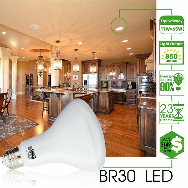 11W Frosted E26/Medium (Standard) LED Light Bulb (Set of 6) by Sunco Lighting