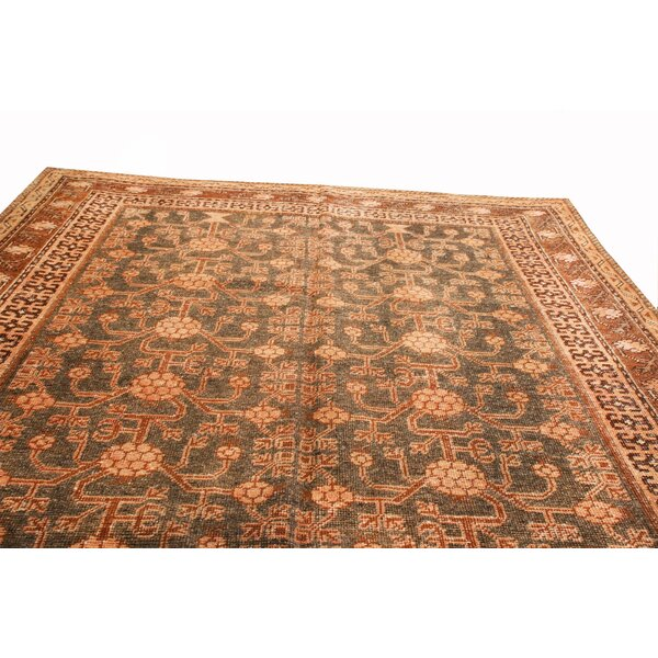 One-of-a-Kind Hand-Knotted Brown 5'8 x 8'9 Wool Area Rug