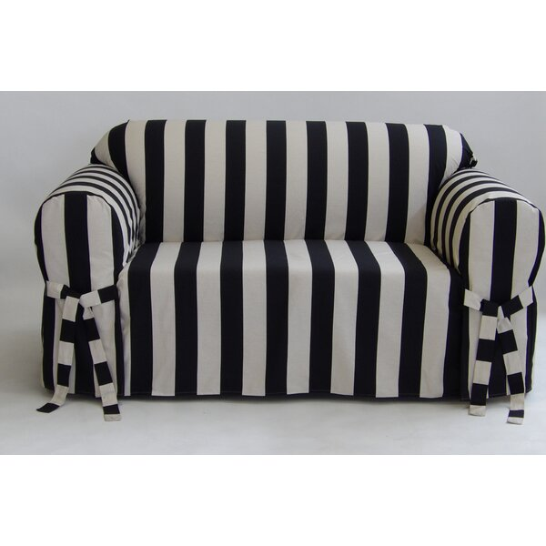 #1 Stripe Box Cushion Slipcover By Breakwater Bay Reviews