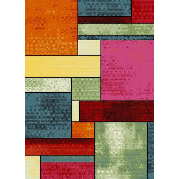 Bettis Anti-Bacterial Orange/Pink/Red Area Rug by Latitude Run