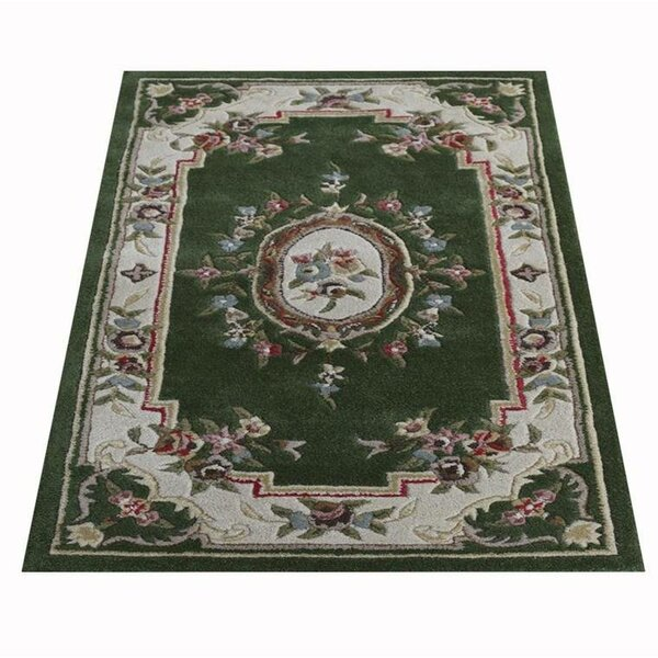Knecht Oriental Hand-Tufted Wool Green Area Rug by Alcott Hill