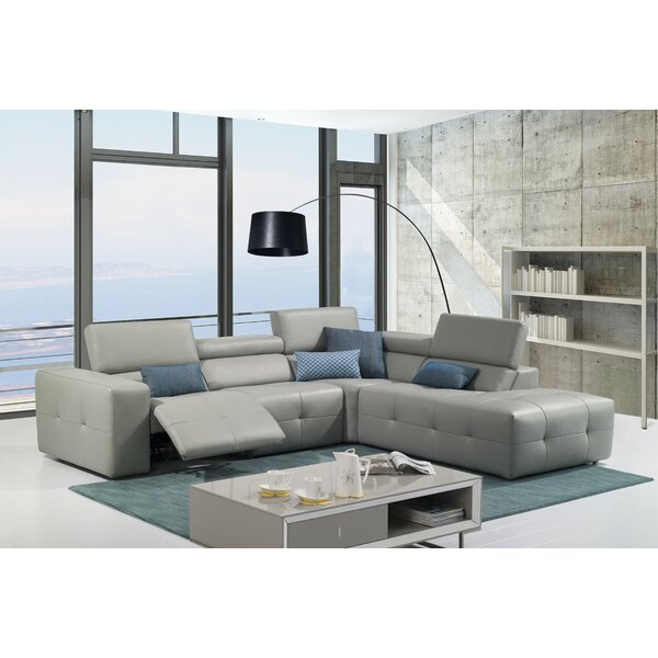 Chase Leather Reclining Sectional by Orren Ellis