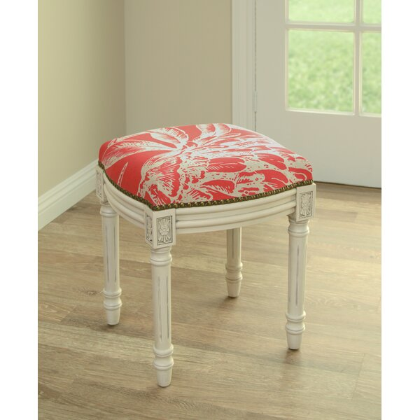 Floral Coral Botanical Linen Upholstered Vanity Stool by 123 Creations