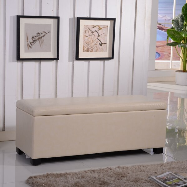 Classic Leather Storage Bench by Bellasario Collection