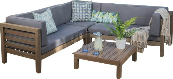 Lovely Birdsboro 4 Piece Sofa Set With Cushions
