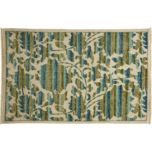 One-of-a-Kind Arts and Crafts Hand-Knotted Ivory Area Rug by Darya Rugs