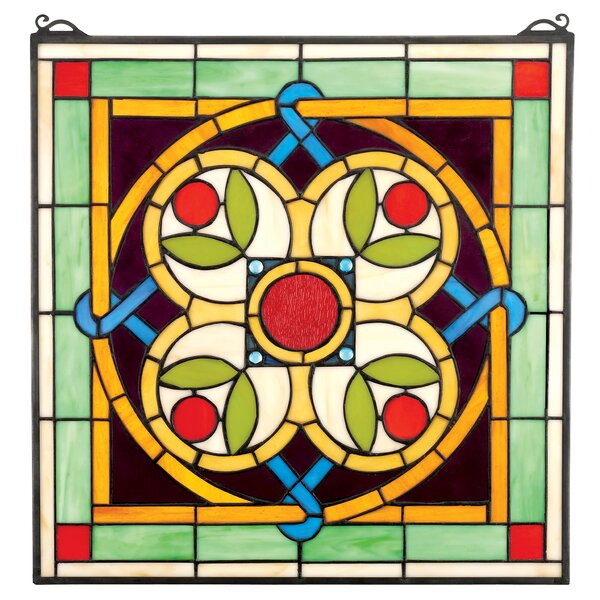 Celtic Floral Quatrefoil Stained Glass Window by Design Toscano