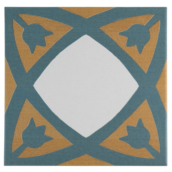 Revive 7.75 x 7.75 Ceramic Field Tile in Blue/Orange by EliteTile