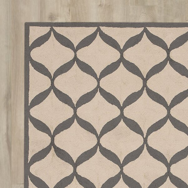 LaGuardia Hand-Tufted White/Light Gray Area Rug by Wrought Studio