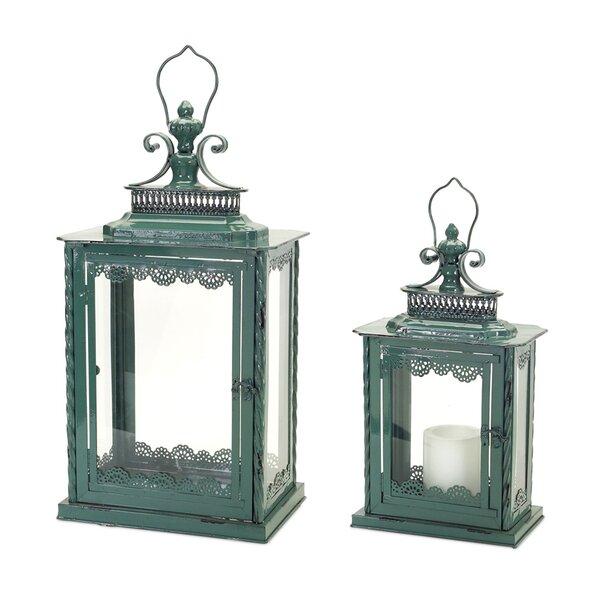 2 Piece Metal/Glass Lantern Set by Melrose International