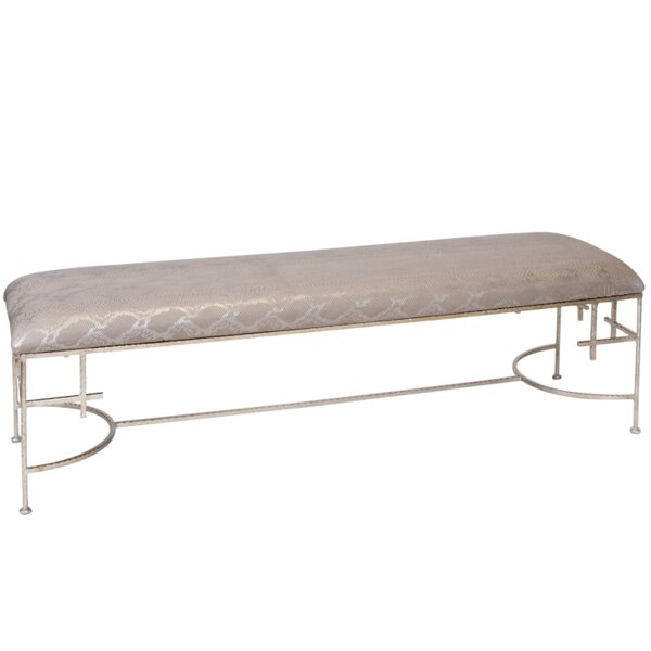 Hammered Upholstered Bench by Worlds Away Worlds Away