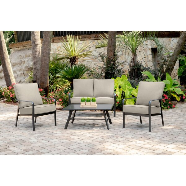 Colson 4-Piece Commercial-Grade Patio Seating Set with 2 Cushioned Club Chairs, Loveseat, and Slat-Top Coffee Table by Gracie Oaks
